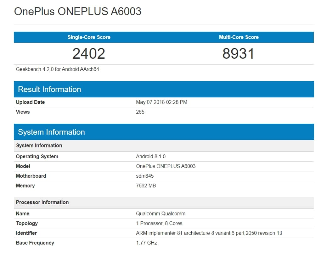 OnePlus 6 A6003 Appeared on Geekbench