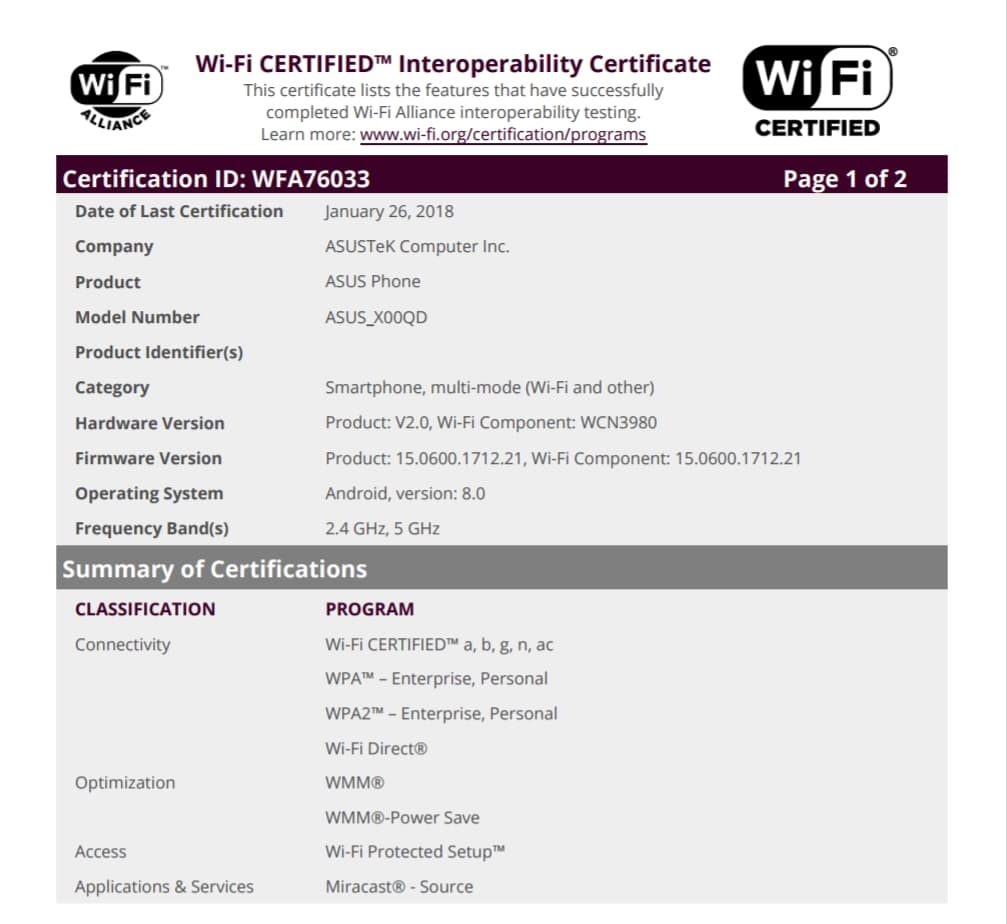 ASUS Zenfone 5 Max has Received Wi-Fi Certification